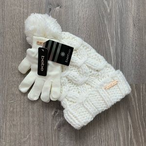 NWT BEBE Logo Knit Pom Pom Hat & Gloves Set